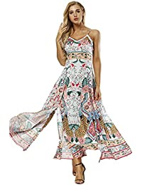 Floral Print Summer Long Dress Sleeveless Spaghetti Strap Split Backless Beach Maxi Dresses Bohemian Casual Vestidos