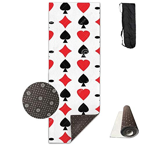 Poker Cards Red Black Heart,Eco-Friendly Non-Slip Yoga Mat Thick Pro Exercise and Pilates Mat with A Yoga Bag Waterproof Yoga Mats Fitness