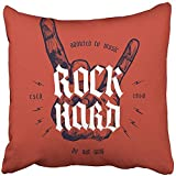 Staroutah Throw Pillow Cover Polyester 18x18 Inch Decorative Music Rock Hard Hand with Medieval Lettering Roll Metal Gesture Old Graphic Brand Deco Cushion Pillowcase Print Sofa Home