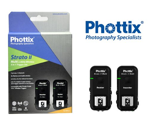 Phottix Strato II Wireless Flash Trigger Multi 5-in-1 Set for Nikon - Transmitter and Receiver (PH15653) by Phottix