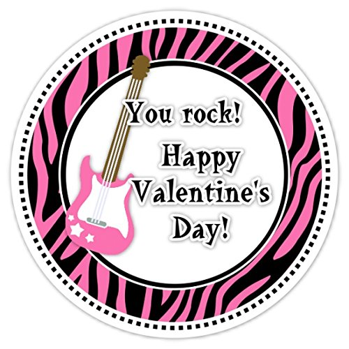 Amazon Com 36 Valentine S Day Labels You Rock Stickers Hot Pink