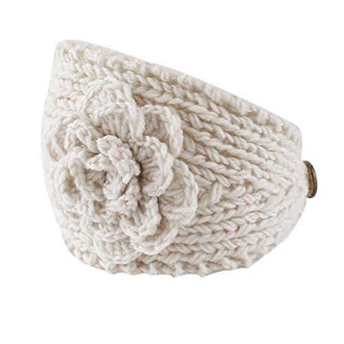 Deamyth Women Winter Crochet Headband Knit Flower Ear Warmer Hairband (White)