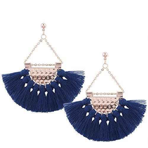 Retro Colours Woolen Tassel Dangle Stud Earrings Sector Earrings for Women Mothers Day Gift (Blue)