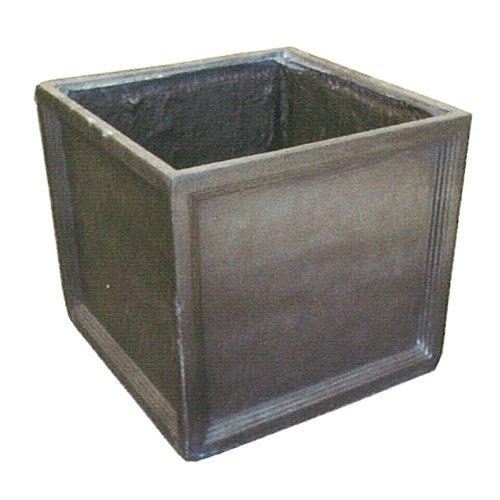 軽量 大型植木鉢 ファイバークレイ ブリティッシュキューブ グレー 38cm B06XZ9ZYTX   38cm