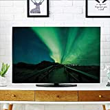 Jiahonghome Cover for Wall Mount tv Wooden Bridge Solar Sky Scenic Radiant Rays Arctic Magic Scenery Fern Green Dark Cover Mount tv W20 x H40 INCH/TV 40''-43''
