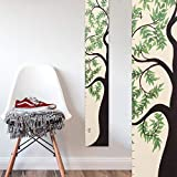 Growth Chart Art | Wooden Tree of Life Growth Chart for Kids, Boys & Girls | Height Ruler | Green Leaf