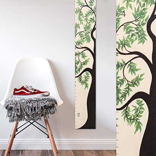 Growth Chart Art | Wooden Tree of Life Growth Chart for Kids, Boys & Girls | Height Ruler | Green Leaf by Growth Chart Art