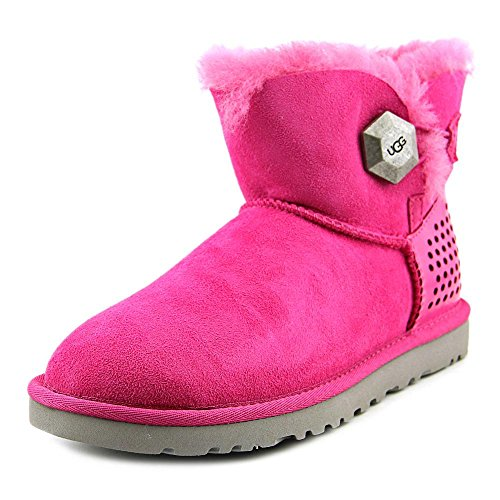 UGG Women's Mini Bailey Button Geo Perf, Furious Fuchsia Twinface, 6 B - Medium