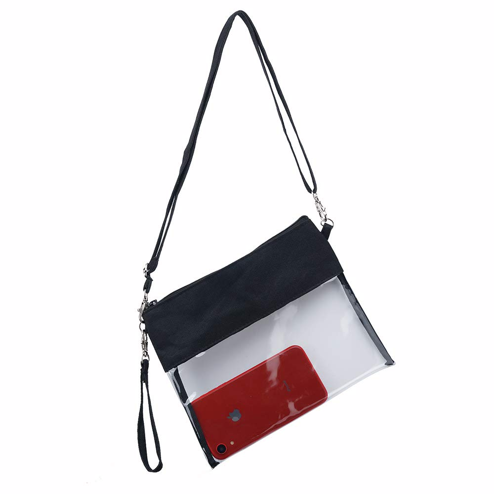 School Sports Games NFL,NCAA /& PGA Stadium Approved Clear Shoulder Tote Bag with Adjustable Shoulder Strap and Wrist Strap for Work Y/&R Direct Clear Crossbody Purse Bag