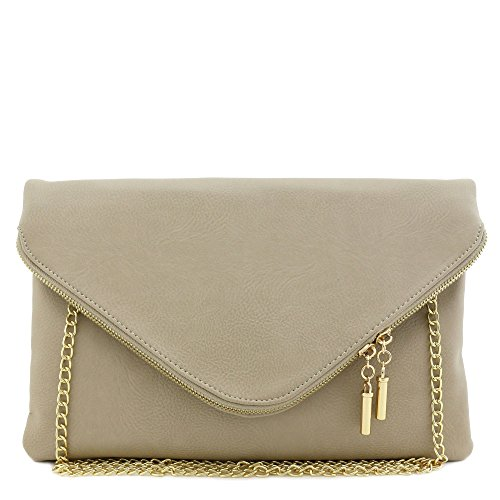 (Large Envelope Clutch Bag with Chain Strap (Dove))