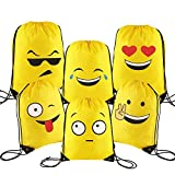 VEYLIN Emoji Drawstring Backpacks Cartoon Different Designs for Kids Boys Girls Birthday Party Favor Bags(6 Pack)