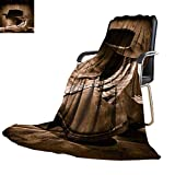 YOYI-home Warm Microfiber All Season Blanket Cow boy Black Felt hat ATOP Worn Western Boots and Spurs withold ranching Rope in an Antique Wood Oversized Travel Throw Cover Blanket 62''x60''