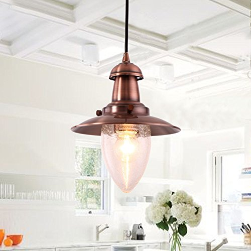 MSTAR Industrial Vintage Pendant Light E26 Retro Ceiling Pendant Light Shade Fishman Style for Kitchen Café Bar (Antique Copper)