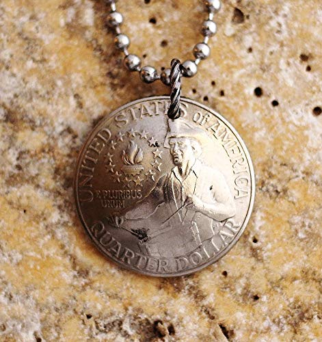 Bicentennial Quarter Domed Coin Necklace U.S. Commemorative Pendant 1976