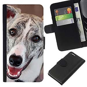 KLONGSHOP // Tirón de la caja Cartera de cuero con ranuras para tarjetas - Greyhound Whippet Dog Racing mascotas - Apple Iphone 5C //