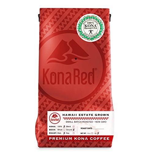 KonaRed USDA Certified 100% Kona Coffee, Medium Roast, Ground, One Pound Bag