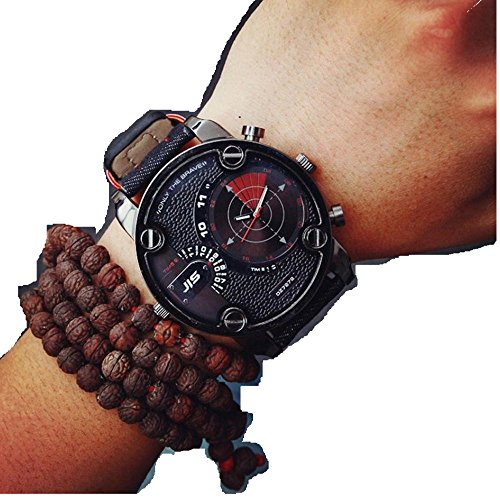 Creazy® Fashion Luxury Mens Analog Sport Steel Case Quartz Leather Wrist Watch (Black)