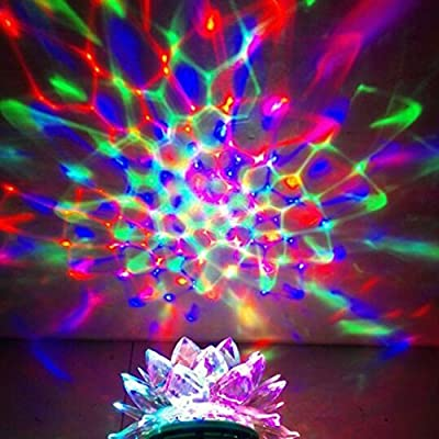"Lightahead® ""Flower Shaped"" Rotating Strobe LED Crystal stage light for Disco party club bar DJ ball Bulb Multi changing Color with Beautiful Patterns.(Flower Shaped)"