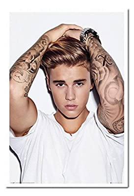 Justin Bieber Hands On Head Poster Magnetic Notice Board White Framed - 96.5 x 66 cms (Approx 38 x 26 inches)