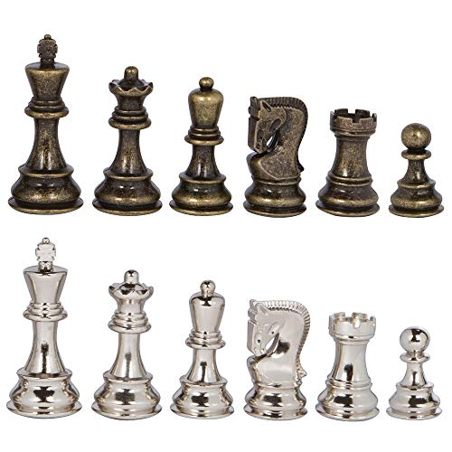 Lowell Silver and Bronze Metal Chess Pieces with Extra Queens - Pieces Only - No Board - 3.75 Inch ()