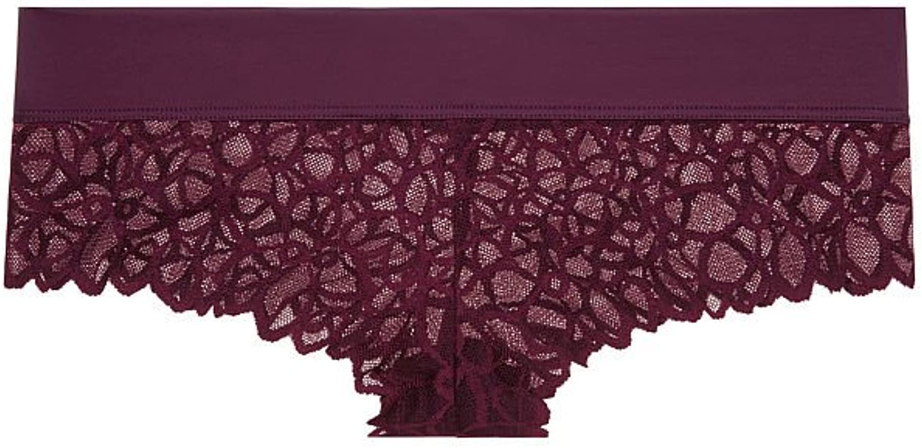 PINK Victoria/'s Secret Merlot Cherry Logo X-SMALL Allover Lace Cheekster Panty