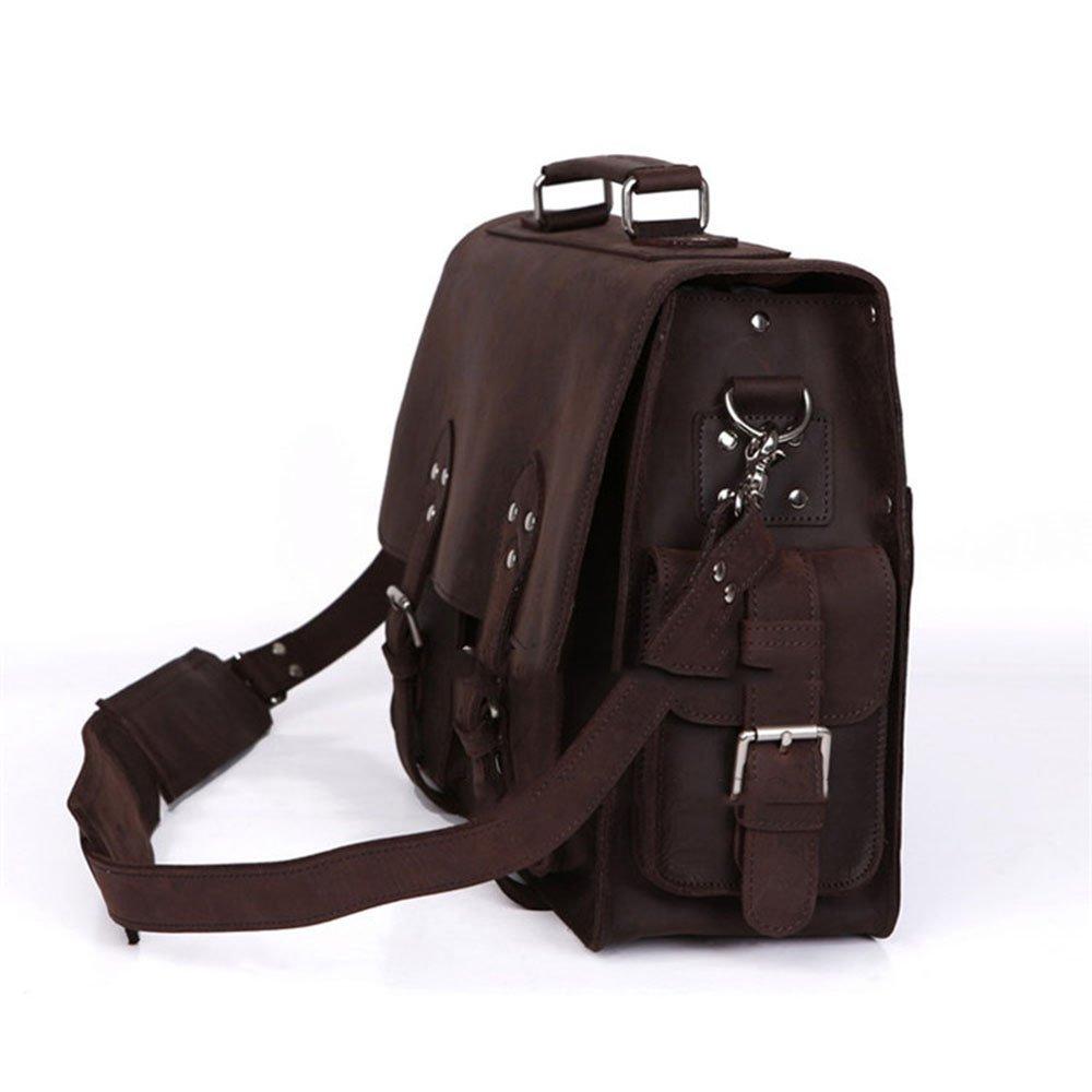 GLJJQMY Retro First Layer Crazy Horse Leather Mens Briefcase Business Bag Handbag First Layer Leather Messenger Bag Shoulder Bag 40 X 14 X 28cm Travel Bag