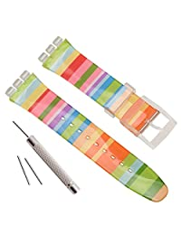 Replacement Waterproof Silicone Rubber Watch Strap Watch Band for Swatch (17mm 19mm 20mm) (17mm, Iridescence)