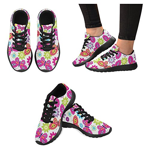 InterestPrint Womens Jogging Running Sneaker Lightweight Go Easy Walking Casual Comfort Sports Running Shoes Colourful Butterfly & Flower Multi 1 lvuUc25eB