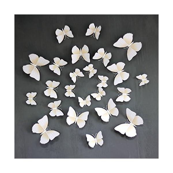 Pegatinas de Mariposas Blancas, Efecto 3D