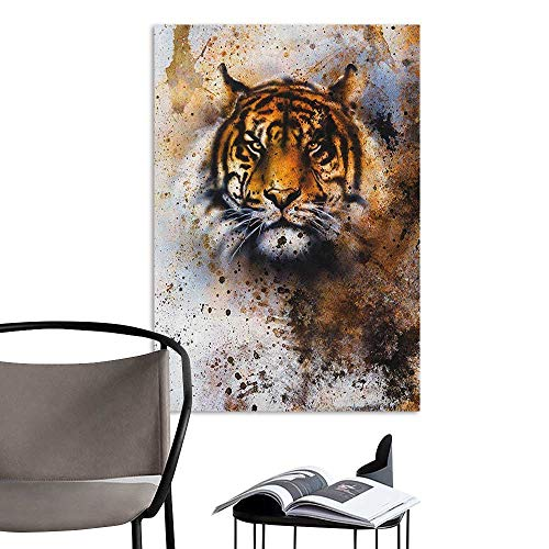 Jaydevn Waterproof Art Wall Paper Poster Tiger Wild Beast Looking Straight into The Eyes of The Viewer Angry Looking Panthera Tigris Multicolor Living Room Wallpaper W20 x H28