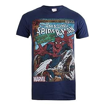 Marvel Camiseta Manga Corta Spiderman Comic Azul Marino 2XL ...