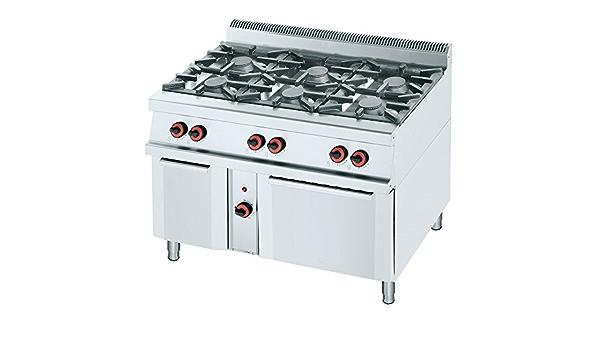 Macfrin R6E Cocina a Gas de 6 Fuegos y Horno 47 Kw ...