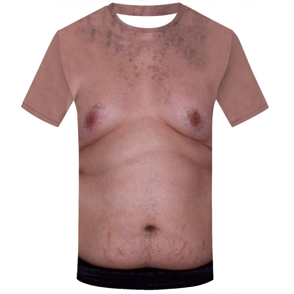 JPJ(TM)1pcs Women Men Hot Creative Holiday Shirt Rude Stag Party Fancy Dress 3D Offensive Boobs Printed Tee (Brown, 2XL)