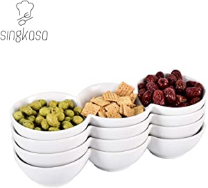 Singkasa 3-Compartment-Porcelain Appetizer Serving Tray, Triplet Bowl, Bowl Set - Great for Snacks, Dips – White – 12.5 Inch – 21.5 Ounce | set of 4 (32x11)