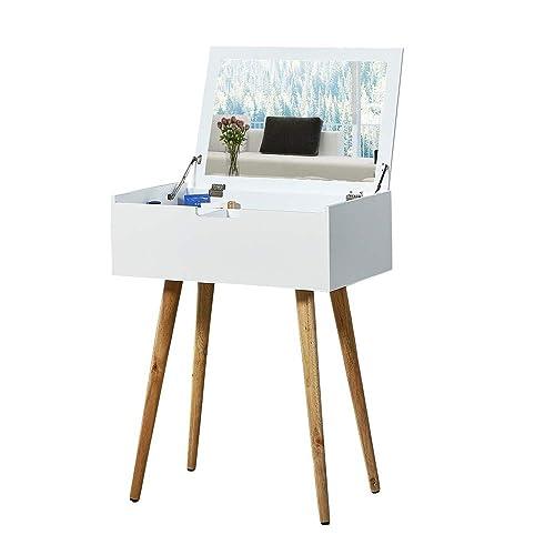 Facilehome Vanity Table Mirror Dressing Table Makeup Storage Organizer,White