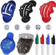 SusiMond 9Pcs Golf Ball Line Marker Tool, 5 Patterns Golf Ball Marker Line Drawing Tool with 4 Color Golf Mark