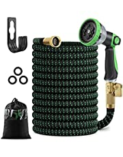 """25 FT Expandable Garden Hose, Flexible Water Hose with 10 Function High-Pressure Spray Nozzle and 3-Layers Flex Strong Latex, Extra Strength 3750D, with 3/4"""" Solid Fittings, Leakproof"""