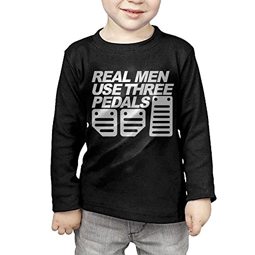 ZheuO Boys & Girls Toddler Real Men Use Three Pedals Soft and Cozy 100% Cotton Tee Unisex Black 2 Toddler (Blazer Pedal)