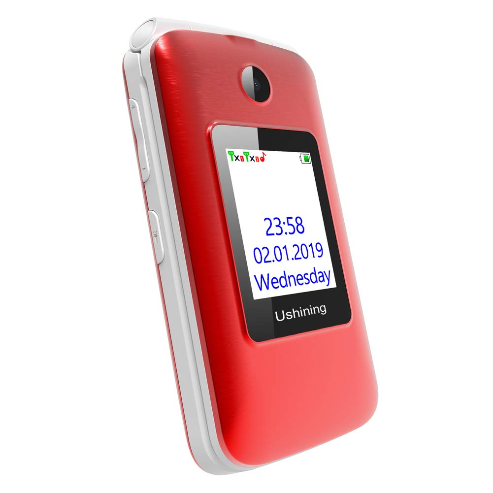 Ushining 3G Unlocked Flip Cell Phone for Senior & Kids,Easy-to-Use Big Button Cell Phone with Charging Dock (Red) by USHINING (Image #6)