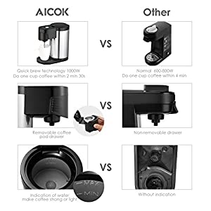 Aicok Single Serve Coffee Maker, Single Cup Coffee Maker for Most Single Cup Pods Including K Cup Pods, One Cup Coffee Maker with Stainless Steel Body from Aicok