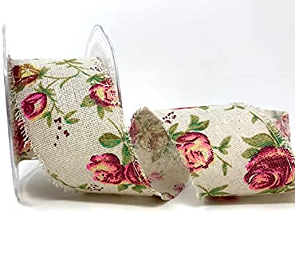 1M FABRIC FLORAL RIBBON SHABBY CHIC 25MM LACE EDGED
