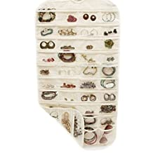 Double Sided 72 Pockets Hanging Jewelry Organizer Jewelry Display Earring Rings Bracelets Storage Bags Hanger