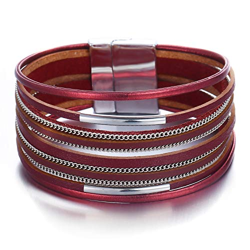 17mile Red Wrap Bracelet Multi-Layer Leather Bead Stand Bracelet Alloy Magnetic Clasp Boho Jewelry Women Girls Gift -