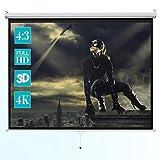 "ivolum 128"" Manual Projector Screen, 1:1 format, Manual pull down projector screen"