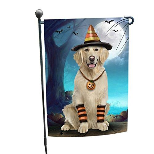 Happy Halloween Trick or Treat Golden Retriever Dog Candy Corn Garden Flag