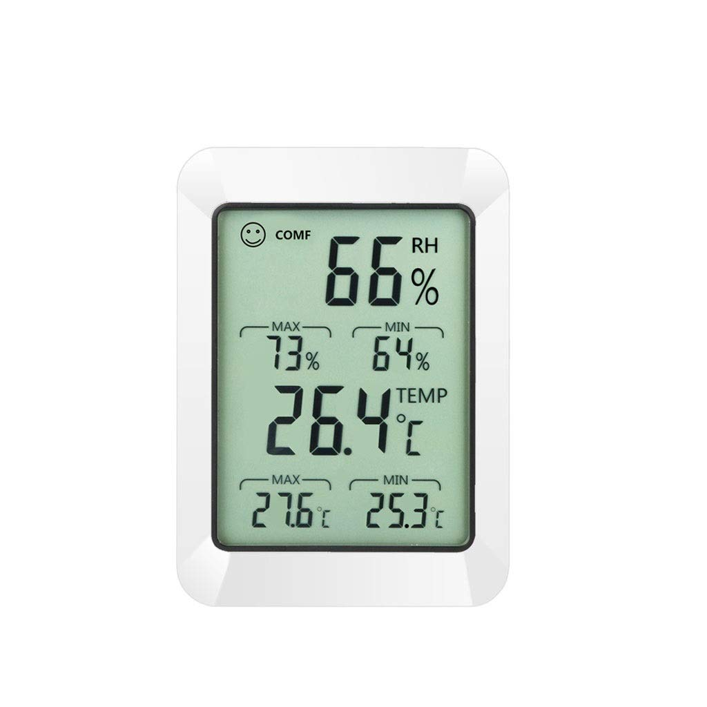 MRZ Electronic Digital Hygrometer Thermometer, Temperature and Humidity Monitor with Large LCD Display, Comfort Indicators, Change for Home, Office.
