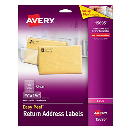 Avery Easy Peel Clear Return Address Labels for Laser Printers, 0.6 x 1.75 Inches, Pack of 600 (15695)