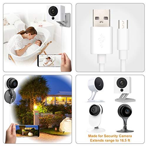 16 5ft USB Power Extension Cable Power Cord for Wireless Home Security  Camera,WyzeCam,Yi Camera,Net Cam,Netvue,Arlo Q Cam,Blink Camera,Furbo Dog