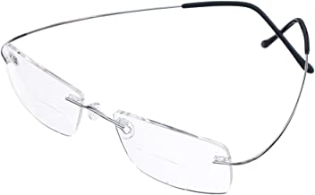 b2b0eac61b4c Bi Tao Super Light 100% Titanium Bifocal Reading Glasses Men Women Fashion  Rimless Reading Eyeglasses