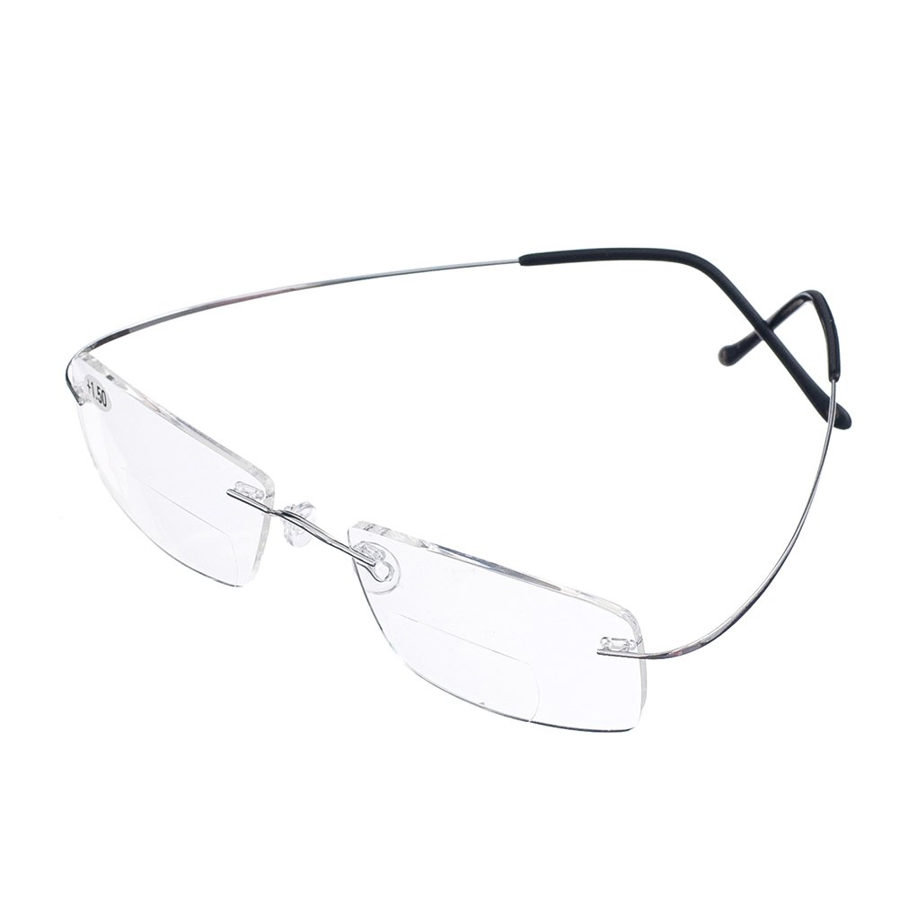 b476452969fd Bi Tao Super Light 100% Titanium Bifocal Reading Glasses Men Women Fashion  Rimless Reading Eyeglasses